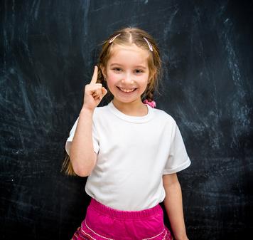 little girl  raised a finger up